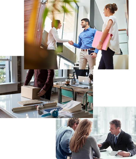 Three Images Business Professionals Carrying out a Variety of Tasks