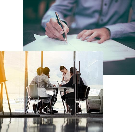 Professionals working in corporate virtual office space.